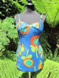 1950's Cotton sateen abstract floral swimsuit **SOLD**